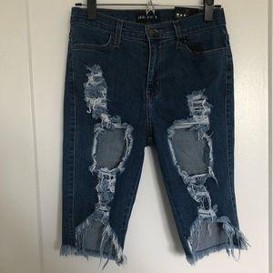 Brand New Fashion Nova Distressed Denim Shorts